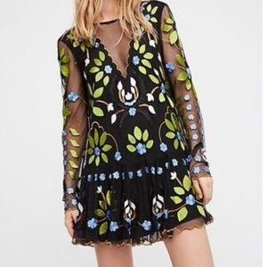 Free People Hearts Are Wild Black Mini Dress Small
